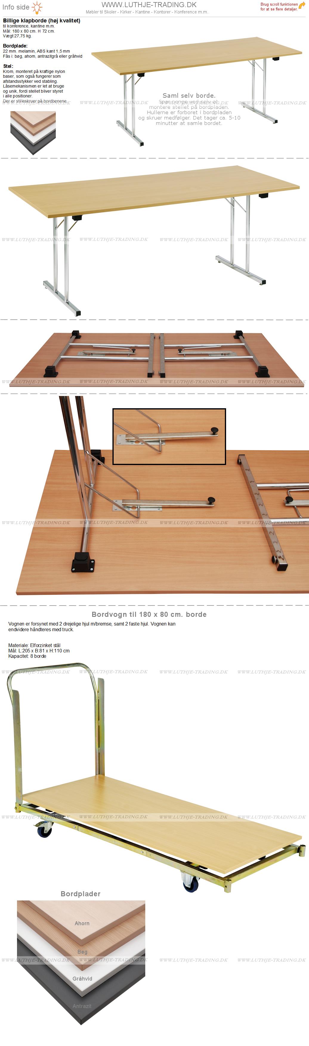Billige klapborde 180 x 80 cm.